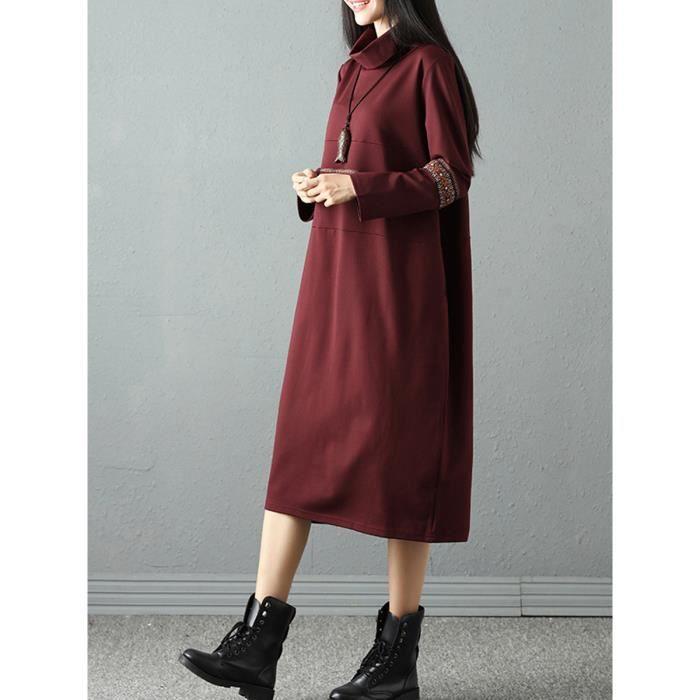 Robe de femme Aline Broderie à manches longues à col roulé en vrac Robe mi-longue 11582618