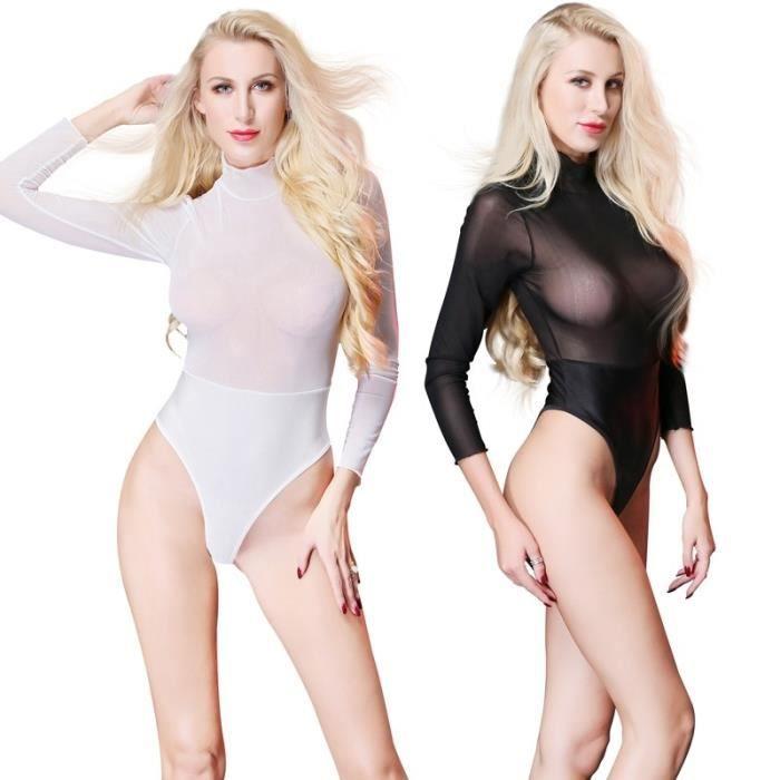 Femmes élégant Décolleté Body Dentelle Manches Longues Noir Sexy Femmes Bodysuit Clear And Distinctive Lingerie, Nuit Vêtements, Accessoires