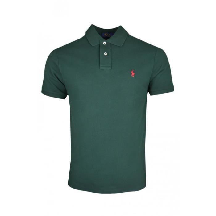 13d086a4ffac0 Polo Ralph Lauren vert en piqué logo rouge slim fit pour homme - Couleur   Vert - Taille  S