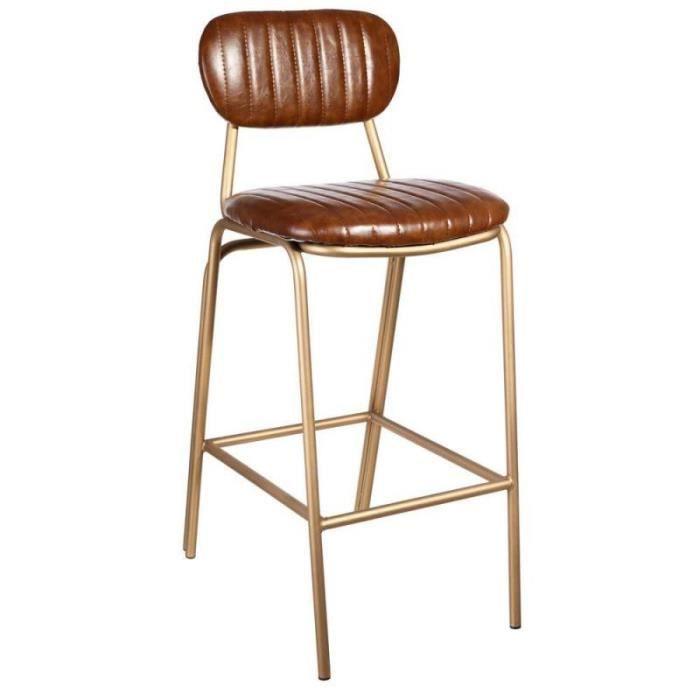 H Bar Nora 44 51 L 100 Chaise X De Cuir Cognac Haute Simili 35Lq4ARj