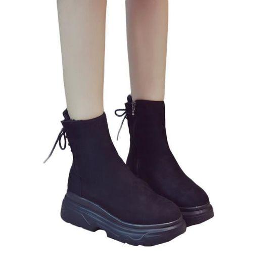 Bottes Chaussures slip Non Bas Martin Aide Femmes Talon Plateforme Rond Bout Des épais Qinhigs2018107176 odxBCe