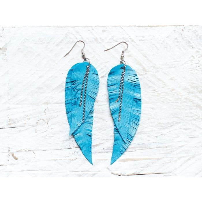 Womens Blue Turquoise Feather Leather Earrings, Layered Earrings, Tribal Earrings, Boho Earrings,XQ85N