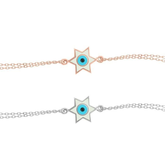 Womens Jewish Star And Evil Eye Bracelet In Rose Gold To Guide You + Add Style + Beauty | Alef Bet K6VE7