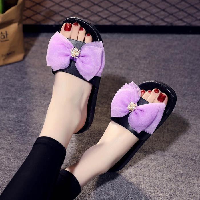 Chaussures Été Filles Sandales Dames Bowknot Plage De Femmes Plates Cristal Chaussons Apq6np8wfx