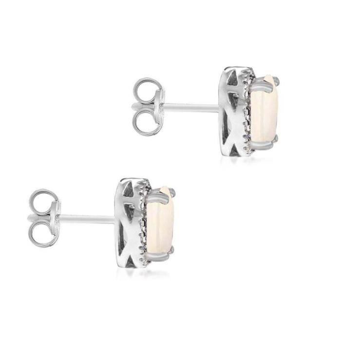 Femmes en or blanc et diamant 9 ct Opal Cluster Boucles doreilles 1YZPVH