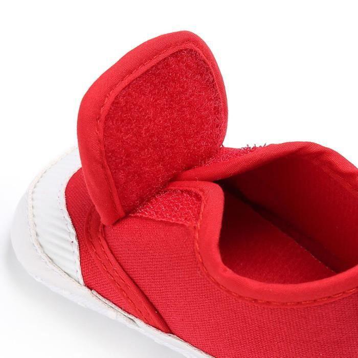BOTTE Chaussures bébé garçon fille nouveau-né crèche chaussures à semelle souple@Rouge hfqzr
