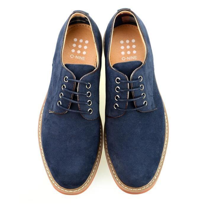Chaussures à lacets Derby Noir Gris Marine Rouge P7MBD Taille-41