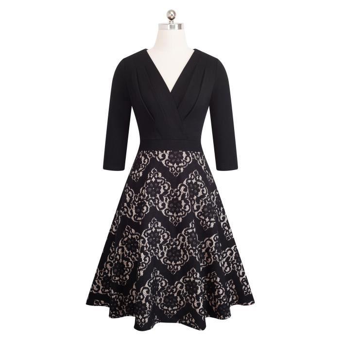 Robe en dentelle brodée Vintage de A074 de femmes 2SQ9HO Taille-34