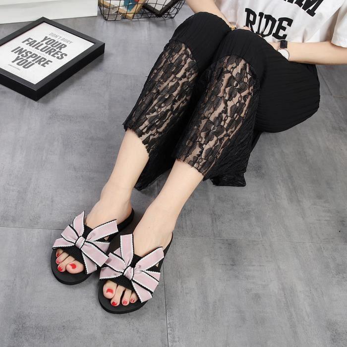 Plage De gei Pantoufle Tongs 2039 Femmes Rose Bow D'été Outdoor Indoor Sandales Chaussures xqywzaO