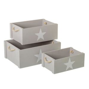 ARMOIRE Lot 3 caisses en bois gris avec étoile
