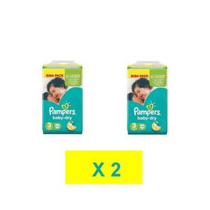 COUCHE COUCHES PAMPERS BABY DRY TAILLE 3 ( 2 x 136 COUCHE