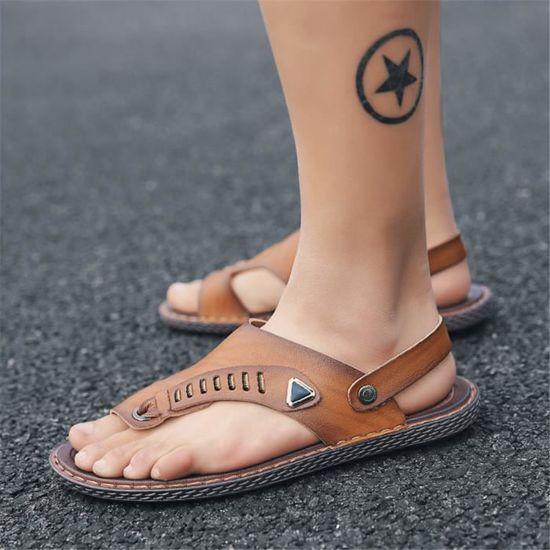 Sandale homme chaussures Meilleure Qualité personnalité Moccasins Confortable Nouvelle arrivee Tong sport Running Marron Marron - Achat / Vente slip-on