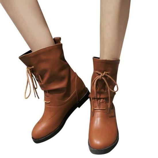 Short Martin En Jaune Tie D'hiver Augmentation Cuir Solides Européenne Bottes Chaussures Rétro Femmes U8Wnqwg1zz