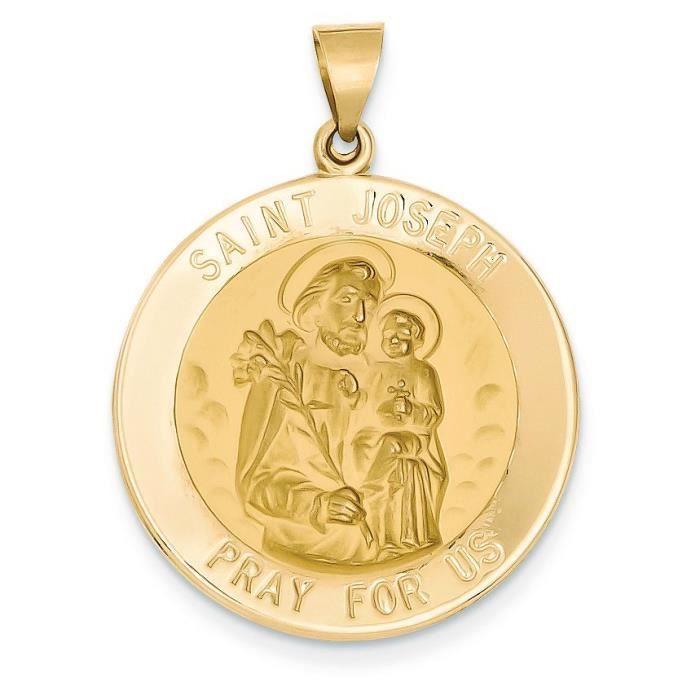 Satiné poli 14 carats et St. Joseph-Pendentif Médaille