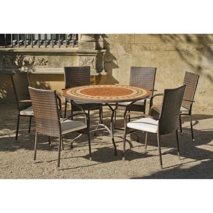 Table ronde mosaïque et fauteuils Lorny Bergamo 4 fauteuils ...
