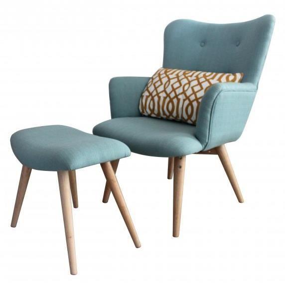 Fauteuil avec repose pieds stockholm Achat Vente fauteuil Bleu