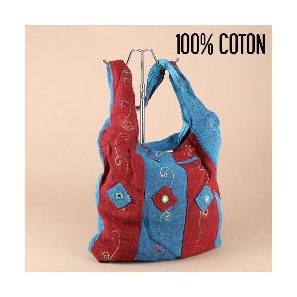 Bleu La Chiné Coton En Besace Colonnes Indienne BTOq76R