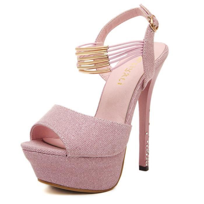Chaussure sandales à Chaussure haut Femme Rose Femme talon gtIwqw5