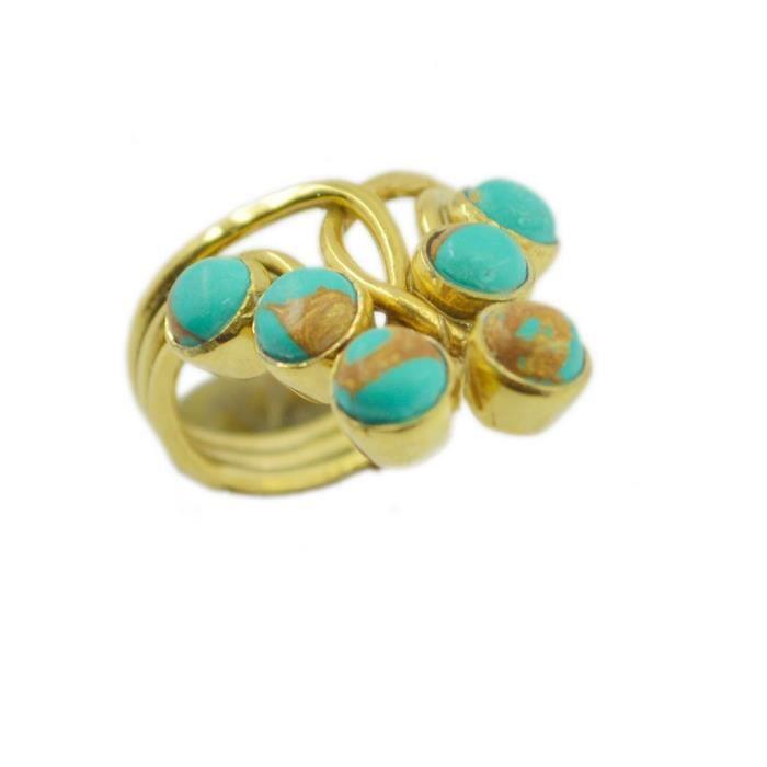 92c98f49ade405 anneau turquoise - plaqué or anneau - - multi-couleur Bague plaqué  multi-couleur or