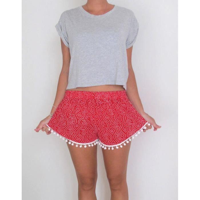 d9b07358cc Short femme pantacourt femme taille élastique imprimé fleur bohême avec  pompons frange Casual Gym Shorts de sport Plage-Rouge