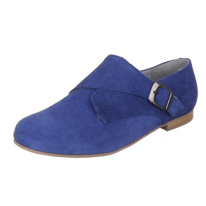 Chaussures femmes flâneurs cuir chausson bleu LkiY6