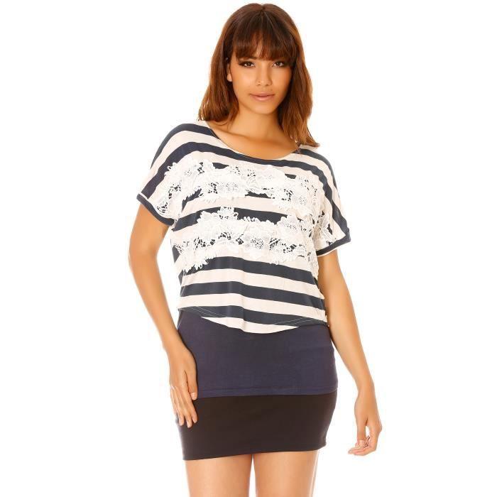 8cd66be321603 dmarkevous - Top T-shirt femme ample Bleu marine et Blanc à rayures avec  dentelle fleuri sur le devant - (M-L - bleu)