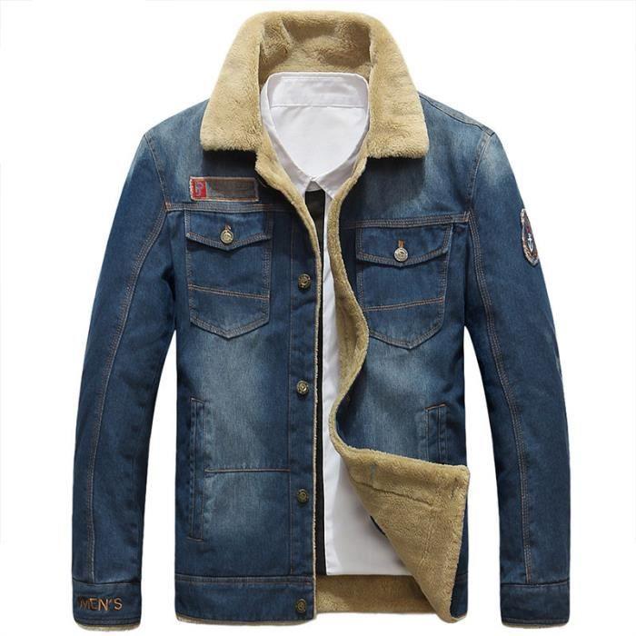 a23fe23bf4435 Manteau en jean Homme hiver a la mode de plus de velours et revers ...