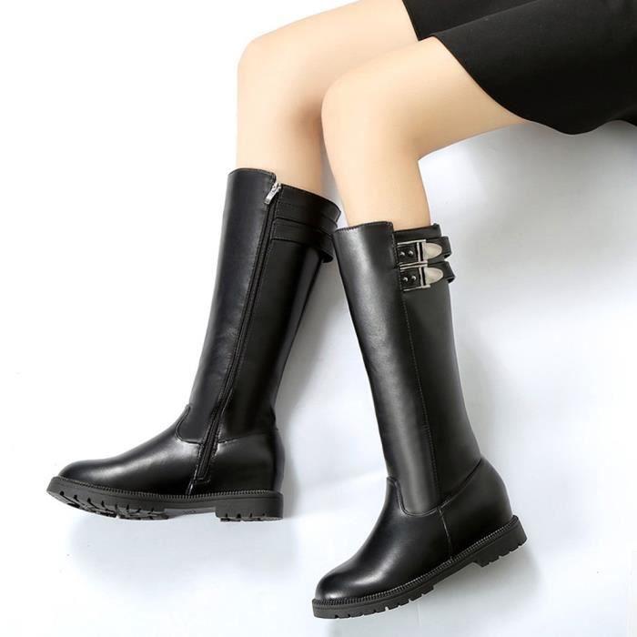 Bottes d'hiver de la cuisse de femmes au-dessus de la botte de genou a augmenté les chaussures à talons plats Noir XKO149 MyHsHtWu