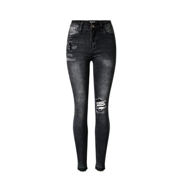 Skinny Denim Fille Déchiré Slim Taille Haute Pantalon Femme Jeans xBnXCqOwSx
