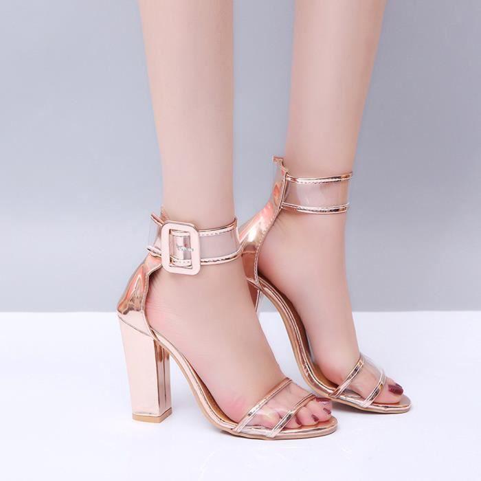 Chaussures Femmes Sandales Cheville Haut Talon Plates Bloquer Dames RjAq34L5