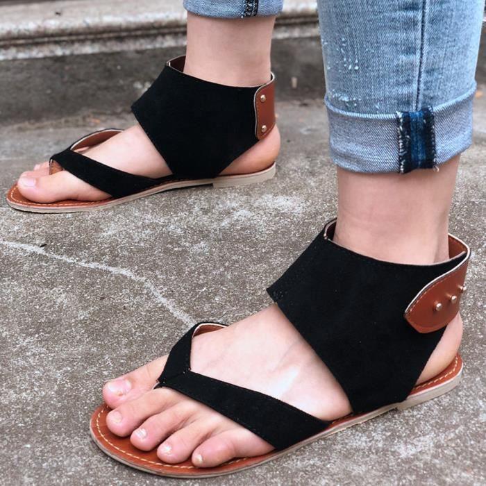 Mode Casual Été Sandal Style noir Flats Femmes Décontracté Benjanies Rome Chaussures Sandales twxqBfg