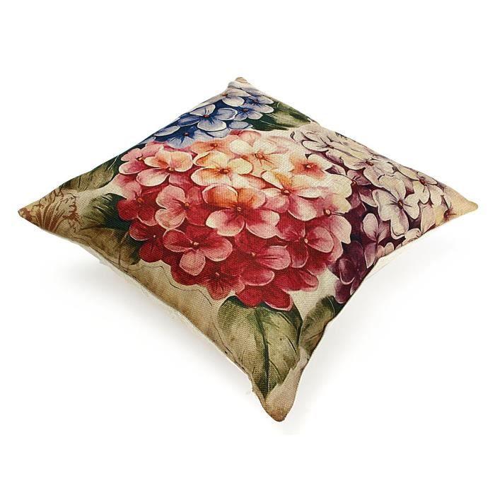 Vintage Vase A Fleurs Housse De Coussin Taie Oreiller Lin Coton Jete