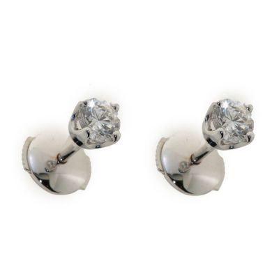 Boucles doreilles or blanc Diamant
