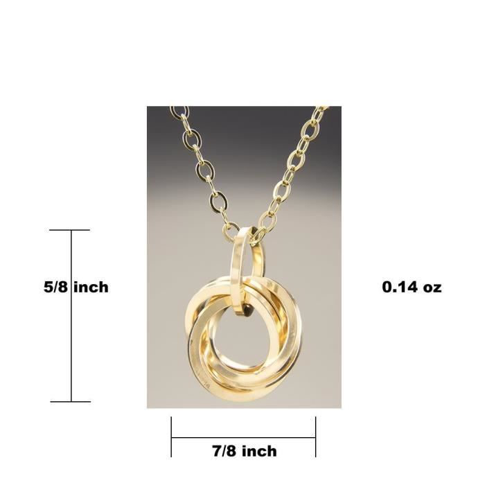 Womens 18 Inch Square Knot Pendant Necklace In 14k Yellow Gold Fill BNE0P