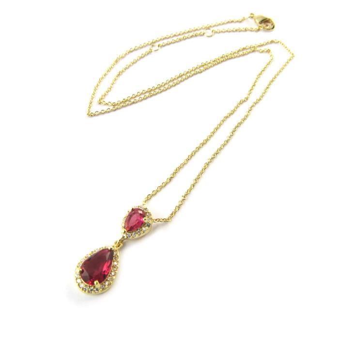 Collier Plaqué-Or Sissi rubis - Les Trésors De Lily [N5404]