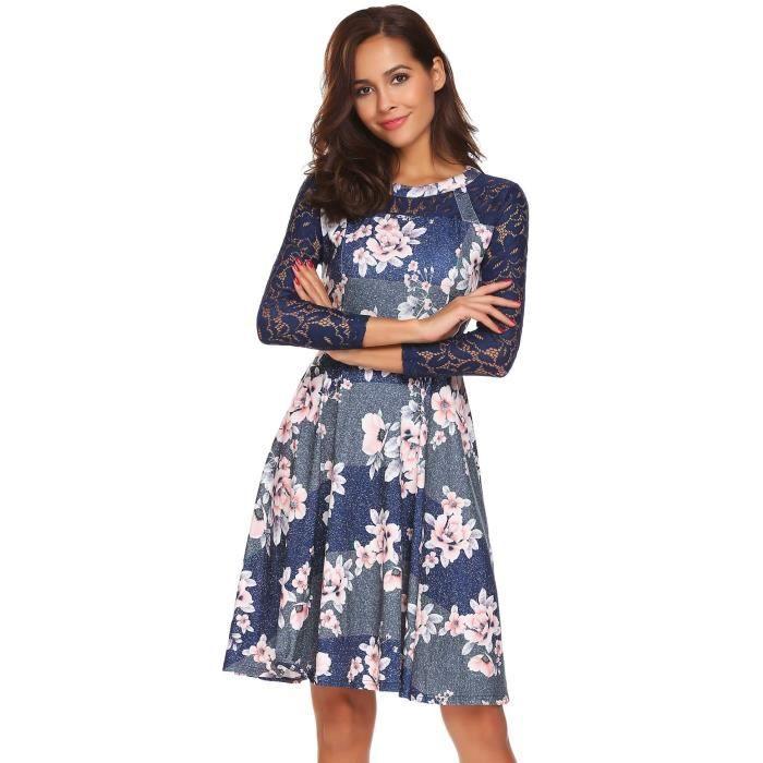 Robe femme manches longues à genou élégant mince floral
