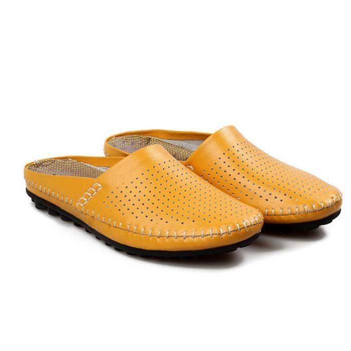 Chaussures Hommes Cuir Printemps Ete Mode Respirant détente Chaussure BDG-XZ082Jaune41 RpRgG