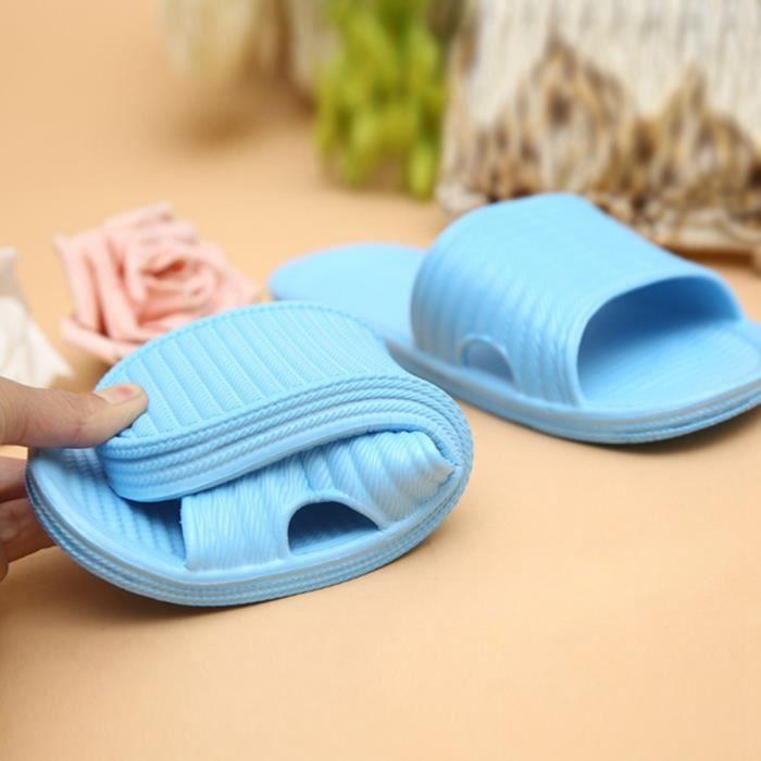 TM0065 Jiyaru Pantoufle Femme Homme Chaussons Salle de Bain Maison Antidérapage Confortable Sandales Bleu 37 EU