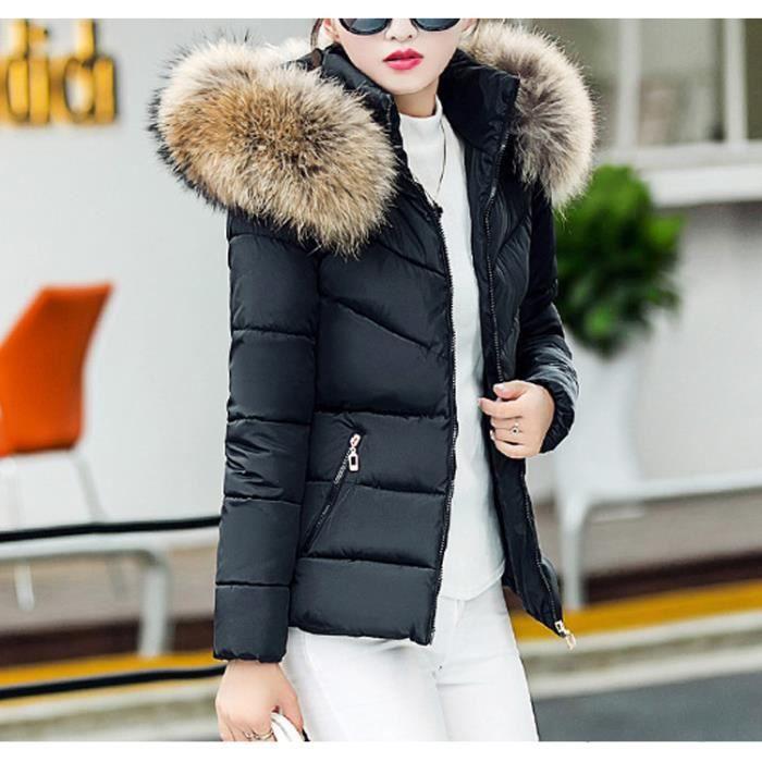 Pure Noir À Femme Automne Grande Couleur Légère Doudoune En S xl Hiver Et Fine Fourrure Coton Capuche Taille Manteau dUXxqwR