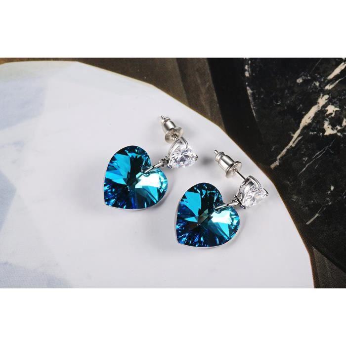 Boucles doreilles pour femmes amour coeur goutte boucles doreilles avec des cristaux swarovski mode bijoux mothe KWL0W