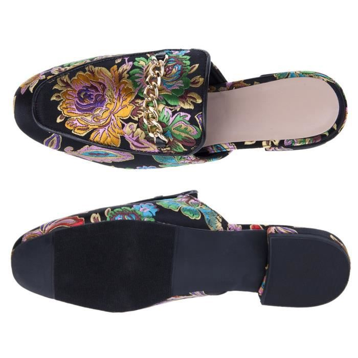 Peony Embroidery Pointed-toe Comfortable Casual Flats Mules Slippers Sandals Y8GNG Taille-37