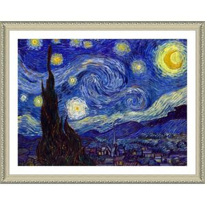TABLEAU - TOILE Starry Night Vincent Van Gogh Biege POSTER ENMAILL