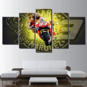 TABLEAU - TOILE 5 panneaux toile imprimé peinture Moto GP salle dé