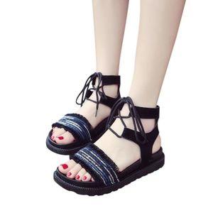 SANDALE - NU-PIEDS Femmes Mode Solide Couleur évider Out Toe Flat San ... e0732ac8e9ab