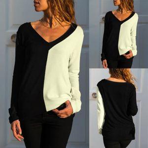 CHEMISIER - BLOUSE Femmes V-Neck manches longues en noir et blanc en 36fd0f8f769