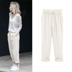 PANTALON Plus Size Casual Pantalons femmes coton lin taille 6b9de7275acb