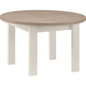 TABLE À MANGER SEULE Table de repas ronde à allonge Frêne Blanchi - POM
