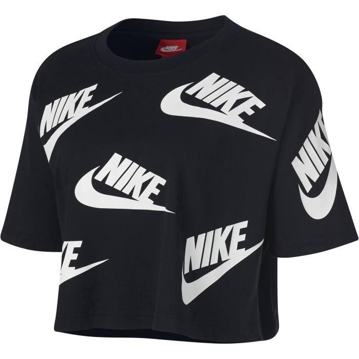 NIKE T-shirt Nsw Futura To - Femme - Noir et blanc Noir et blanc ... c67c69ddf84