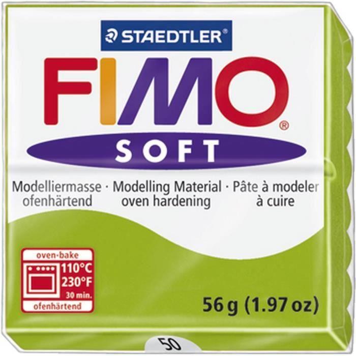STAEDTLER Pâte à modeler à cuire Fimo Soft bloc 56 g vert pomme