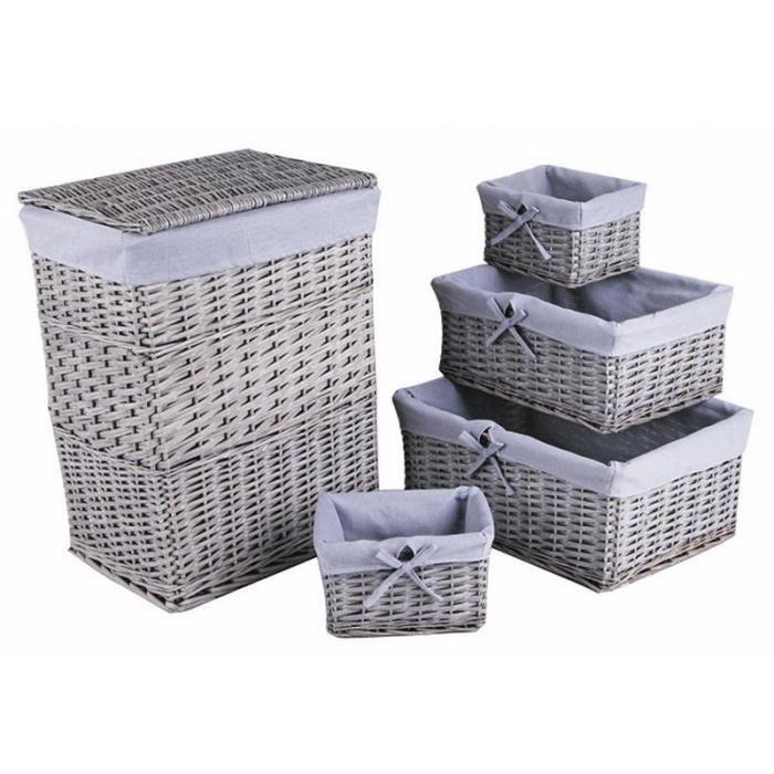 panier linge 4 corbeilles de rangement gris achat. Black Bedroom Furniture Sets. Home Design Ideas